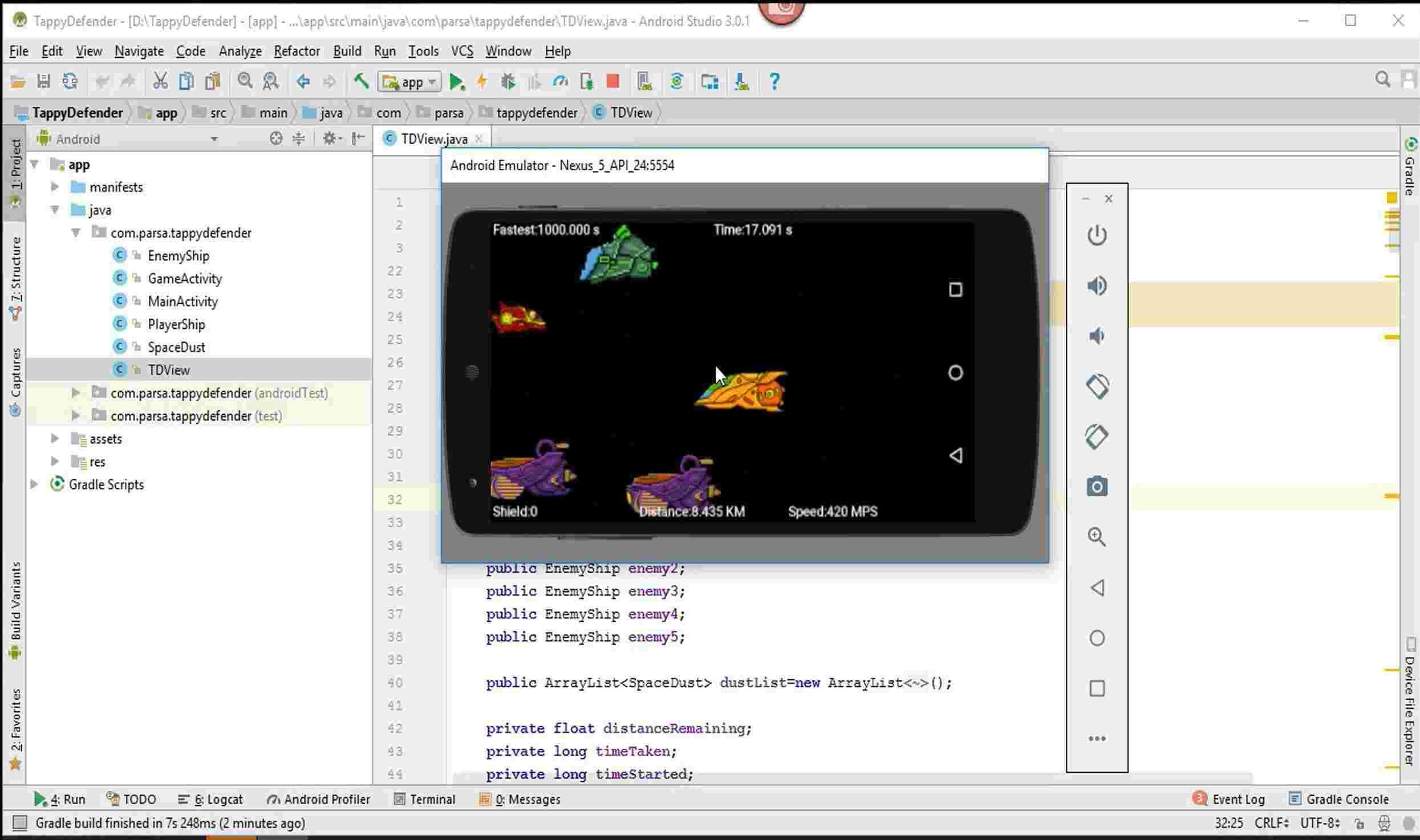 آموزش ساخت بازی در اندروید استودیو و بازی Tappy Defender