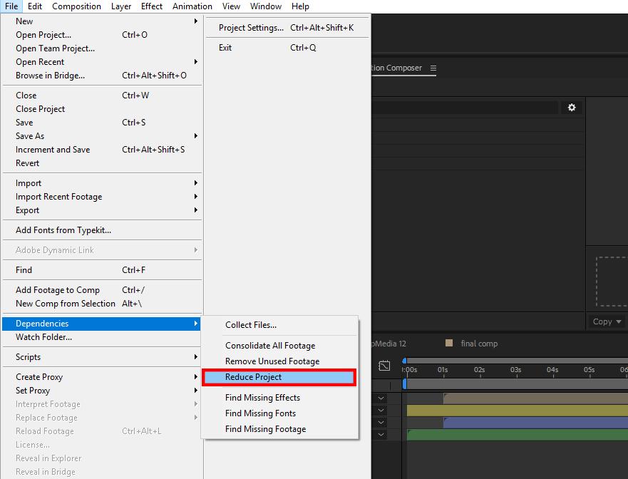 حذف فایلهای اضافی , after effects , افترافکت ,