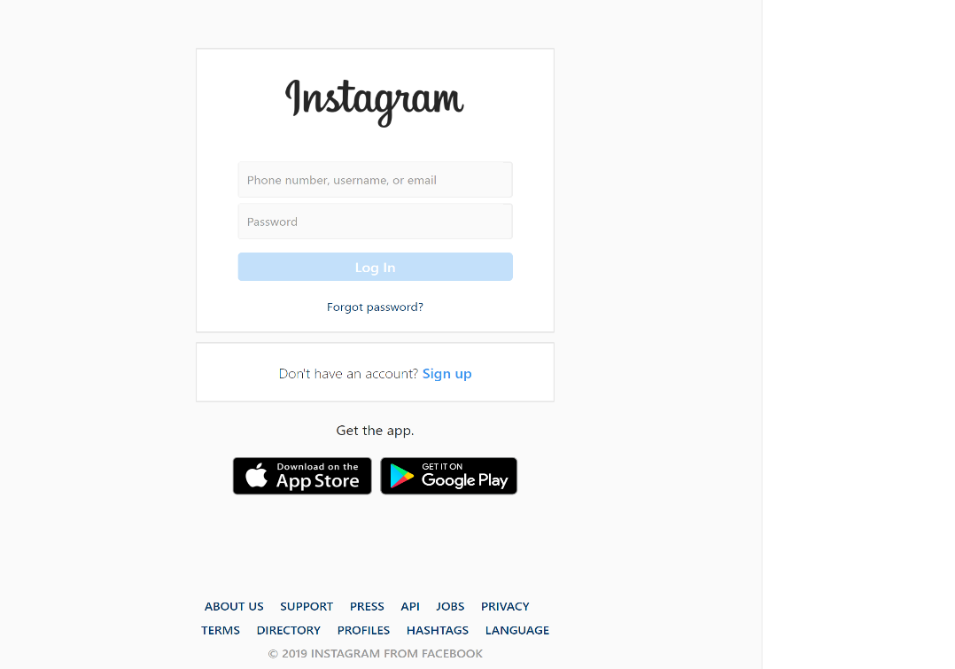 صفحه ورود به اینستاگرام وب