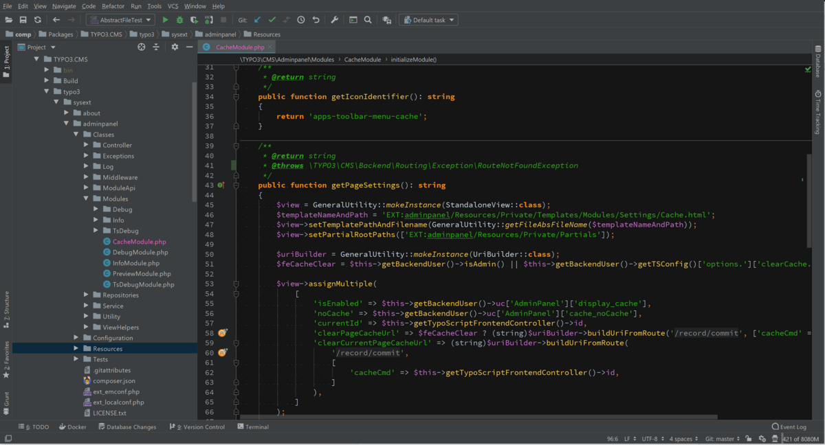 نمونه ای از ویرایش یک فایل در PhpStorm در مقاله آموزش نصب php