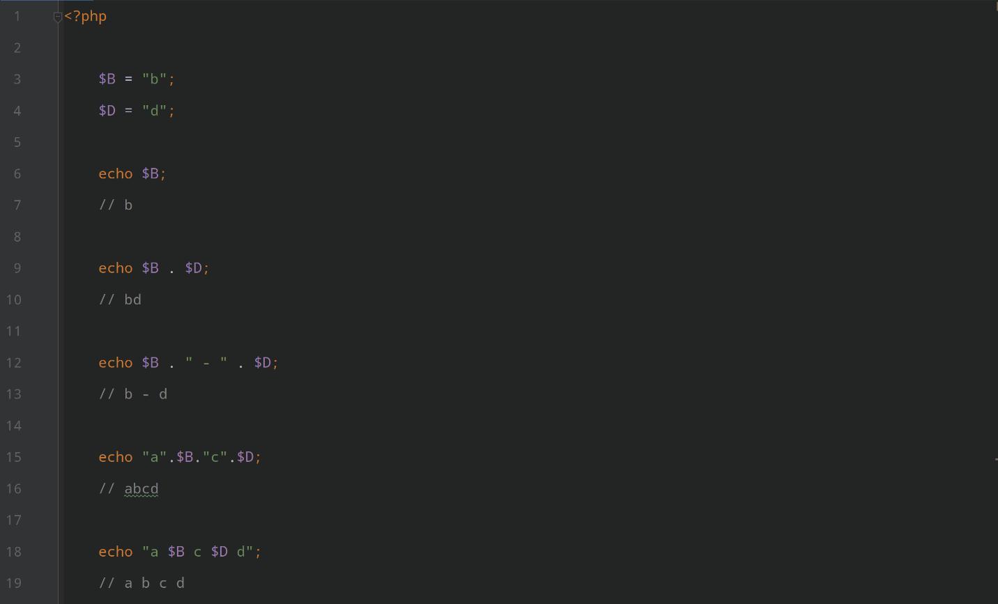 استفاده ترکیبی از رشته های دلخواه و متغیرها در آموزش نصب php