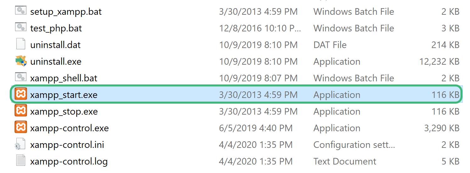 اجرای Xampp در شروع آموزش نصب php