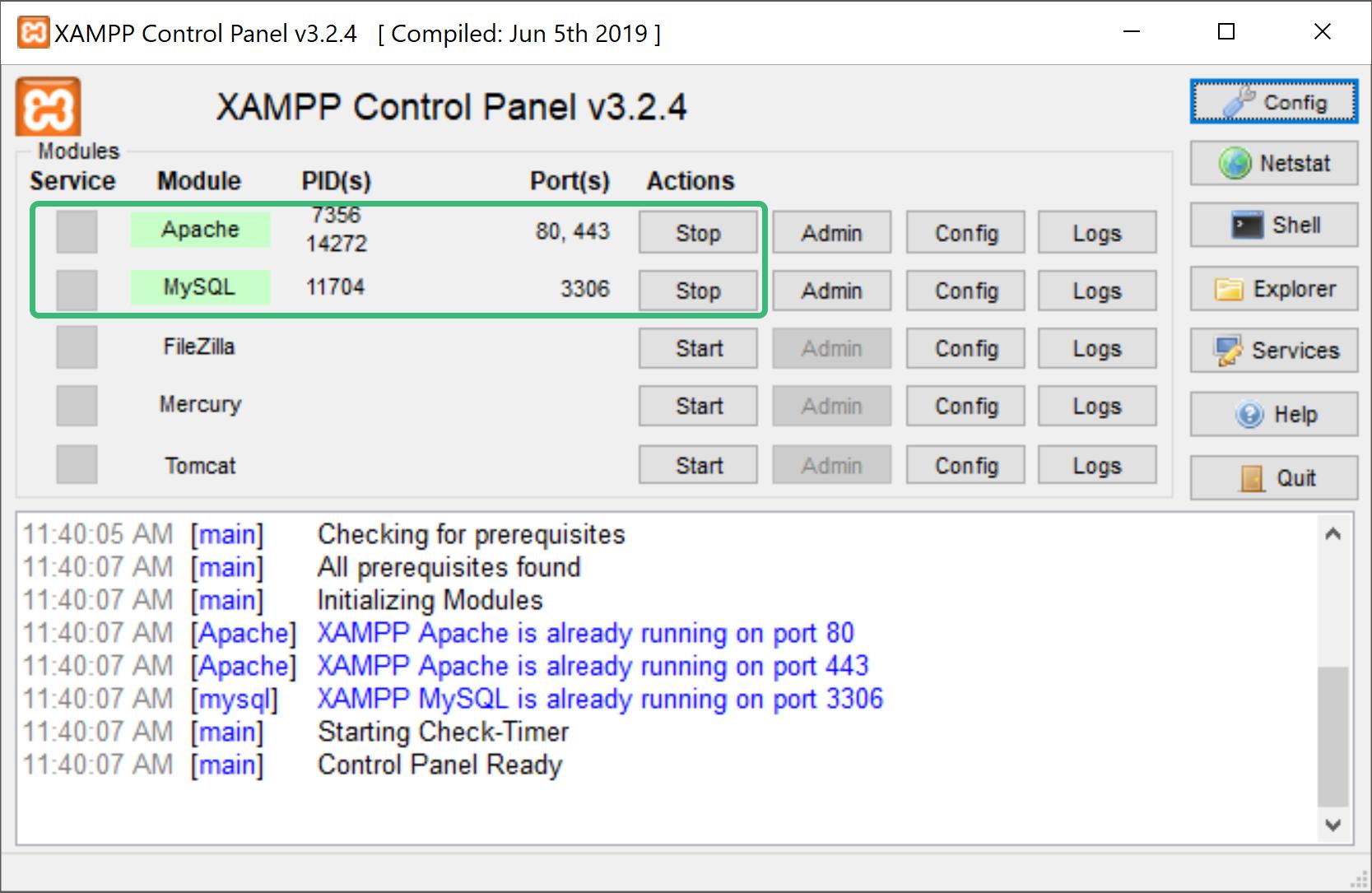 بررسی درست بودن همه چیز با xampp_control.exe در آموزش نصب php