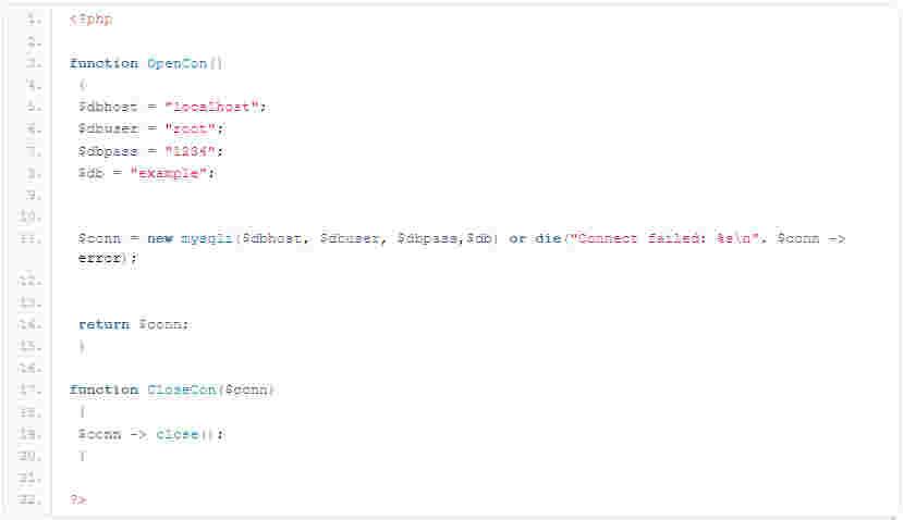 کدی که باید در db_connnection.php وارد شود