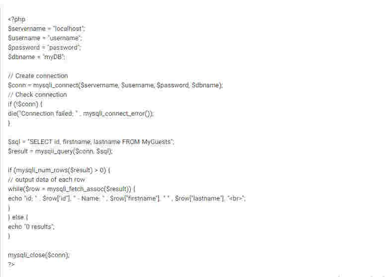 نمایش اطلاعات از دیتابیس با روش MySQLi Procedural