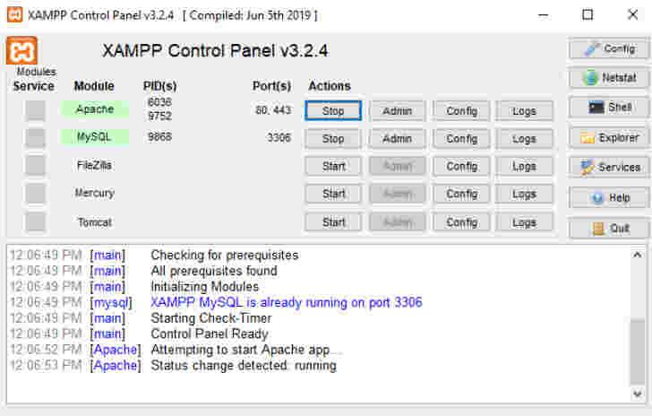 اجرای سرور Apache و MySQL