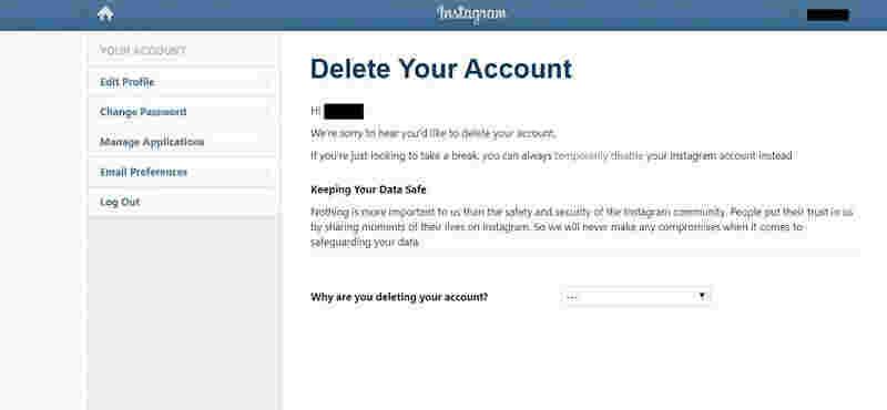 وارد شدن به صفحه حذف اینستاگرام از طریق مرورگر