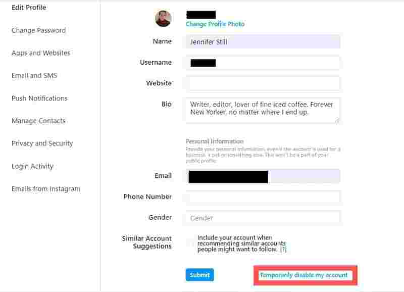 حذف موقتی اکانت اینستاگرام با وارد شدن به نسخه وب اینستاگرام